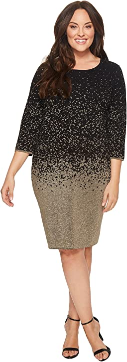 Vince Camuto Specialty Size - Plus Size Long Sleeve Ombre Lurex Sweater Dress