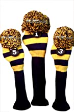 Majek Golf Club Head Covers Traditional Knit Vintage Classic Pom Pom Retro Rugby Driver Fairway Metal Wood Set Oversized Os Headcovers: Blue & Yellow Michigan Colors Fits 460cc Drivers