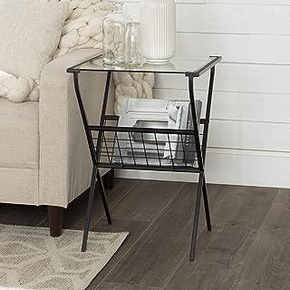 طاولة جانبية مربعة من المعدن والزجاج من ووكر إديسون مع رف تخزين مجلة لغرفة المعيشة طاولة صغيرة نهاية، 43.18 سم، أسود