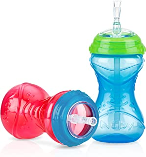 Nuby 2-Pack No-Spill Clik-It Cups with Flex Straw, 10 Ounce, Colors May Vary