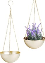 MyGift Modern Brass Bowl Hanging Planter with Metal Chains, Set of 2