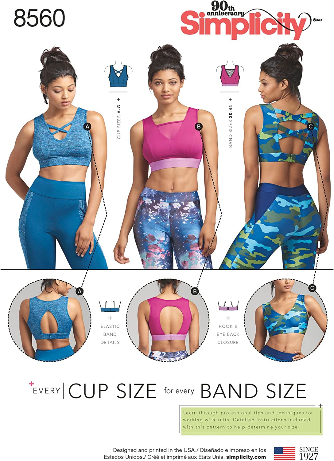 NEW before selling Simplicity Spring new work one after another US8560A Lined Women's Sports Sewing Siz Patterns Bra