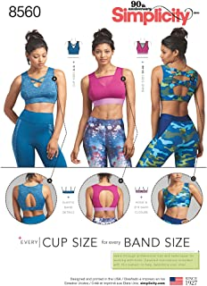 Simplicity US8560A Lined Women's Sports Bra Sewing Patterns, Sizes 30A-44G, Black