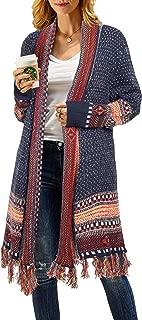 Womens Boho Open Front Long Cardigans Sweater Loose Long Sleeve Aztec Embroidery Tassels Kimono Duster Outwear