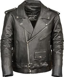 Event Biker Leather Men's Basic Motorcycle Jacket with Pockets (Black, 4X-Large)