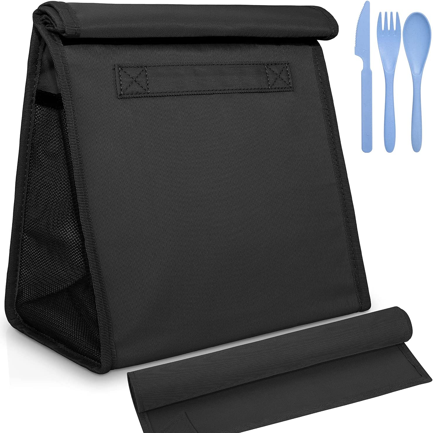 Reusable Lunch Sack Bag with Extra Storage Pockets, Knife, fork, spoon and Washable Napkin, Large Capacity Foldable Insulated Lunch Bag Tote for for Men, Women, Office, School,Picnic, Hiking (Black)
