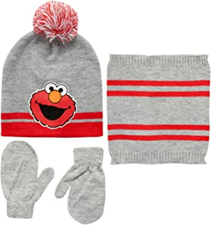 Sesame Street Elmo Hat and 2 Pair Mittens Cold Weather Set, Size Age-2T-4T, Grey Elmo-Mitten