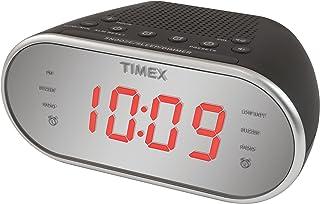 "Timex Am/FM Dual Alarm Clock Radio with Digital Tuning 1.2"" Red LED Display and Line-In Jack Radio Alarm Clock Black (T2312B)"