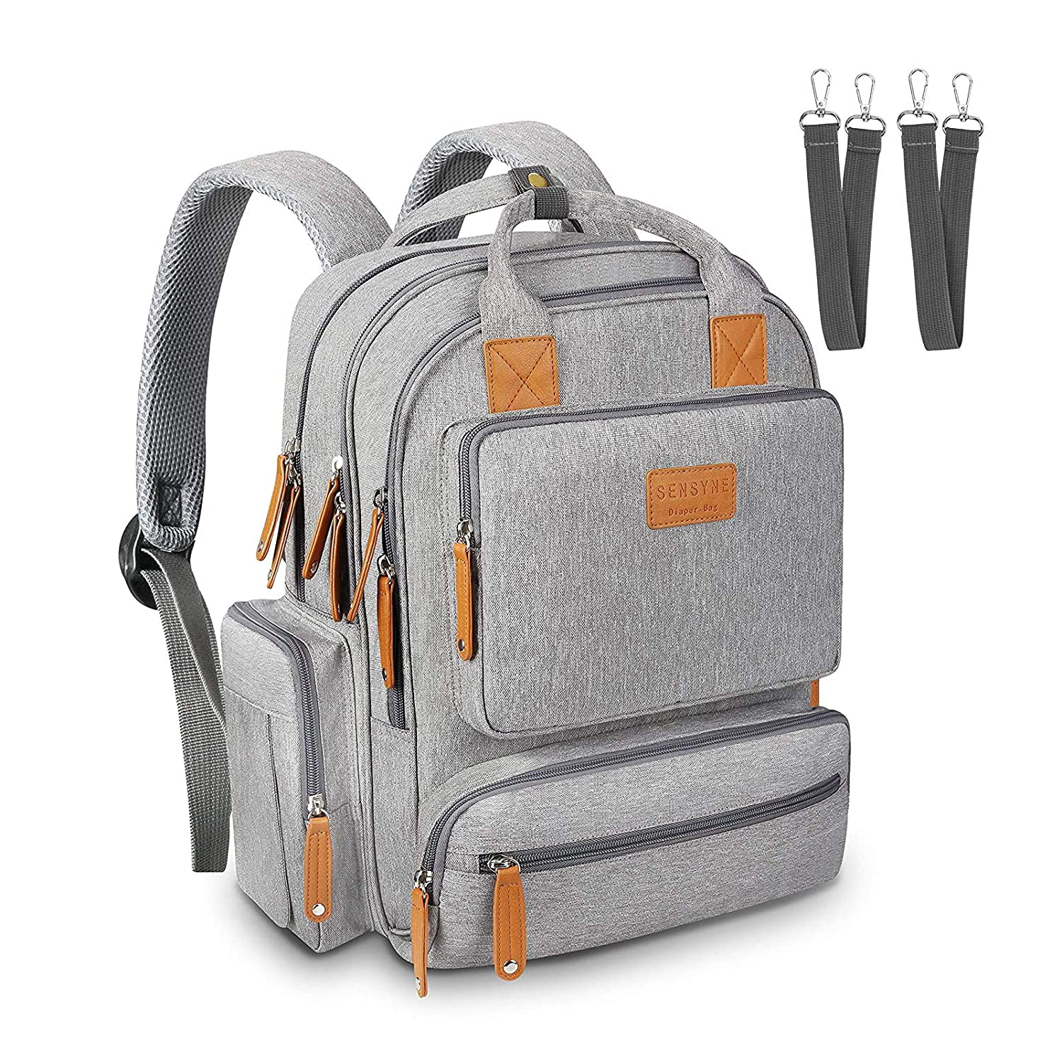FOFRER Diaper Bag Backpack, Maternity Baby Changing Bags, Large Capacity Multifunctional Waterproof Travel Back Pack with Stroller Straps, Gift for Mom and Dad(Gray)