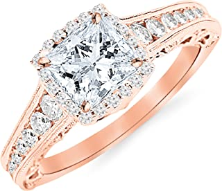 1.75 Carat 14K White Gold Vintage Halo Style Channel Set Round Brilliant Diamond Engagement Ring Milgrain with a 1 Carat Moissanite Center
