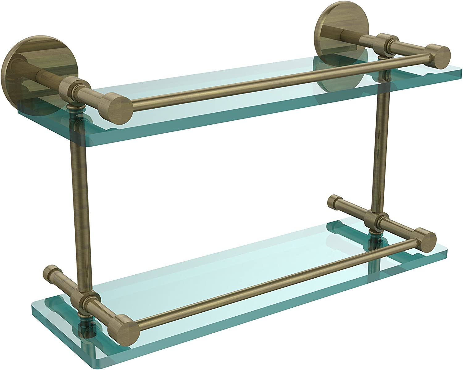 Allied Brass P1000-2 16-GAL-ABR 16-Inch Tempered Double Glass Shelf with Gallery Rail, Antique Brass