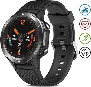 Reloj Inteligente Hombre Mujer, GRDE Smartwatch Redondo 12 Modo Deportivo con (Monitor de Ritmo Cardíaco/Sueño/Calorías) Reloj Fitness 5ATM Impermeable con Podómetro,Cronógrafo,Notificación de Mensaje