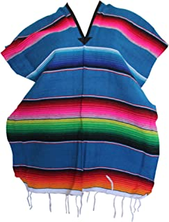 Del Mex Youth Child Mexican Serape Poncho Costume (Turquoise)