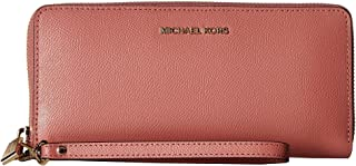 283eb7630fd4 Michael Kors Saffiano Leather Jet Set Travel Continental Wristlet Wallet in  Rose