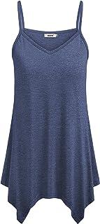 BEPEI Womens Cami Spaghetti Strap Tunic Summer Casual Handkerchief Hem Tank Tops