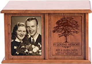 LifeSong Milestones Companion Urns for Humans Ashes Personalized Engraved Double Keepsake Urn for 2 Adults in Loving Memory Family Tree Cherry Wood for Home or Columbarium Niche