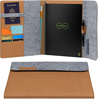 """Rocketbook Smart Notebook Folio Cover - 100% Recyclable, Biodegradable Cover with Pen Holder, Magnetic Clasp & Inner Storage - Mars Sand Tan, Letter Size (8.5"""" x 11"""")"""