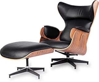 lazyBuddy Mid Century Modern Classic Wingback Plywood Design Replica Style Palisander Wood with Premium High Grade Vintage Black PU Leather Lounge Chair & Ottoman