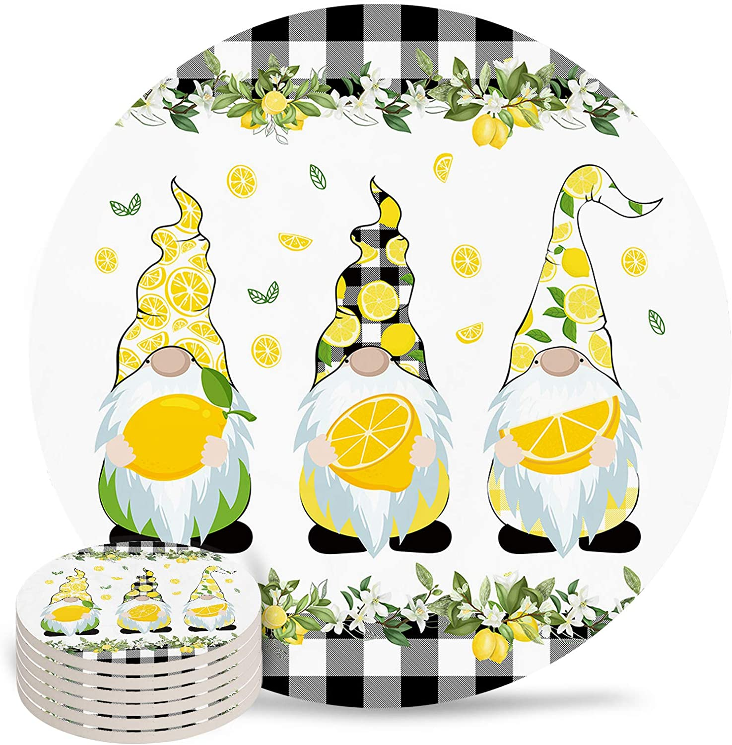 Lemon A surprise price is realized Gnomes Coasters with Direct stock discount Cork Back Room for Bar New Ho Home