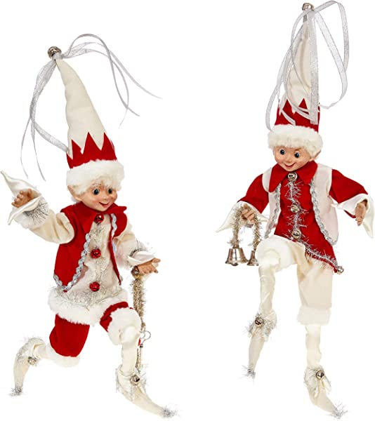 RAZ Imports SET OF 2 Raz 16 Silver Cream And Red Posable Elf Christmas Figure 3802260