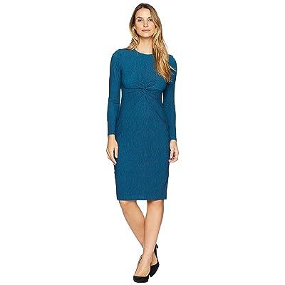 Maggy London Space Dye Knit Knot Front Twist Midi Dress (Turquoise) Women