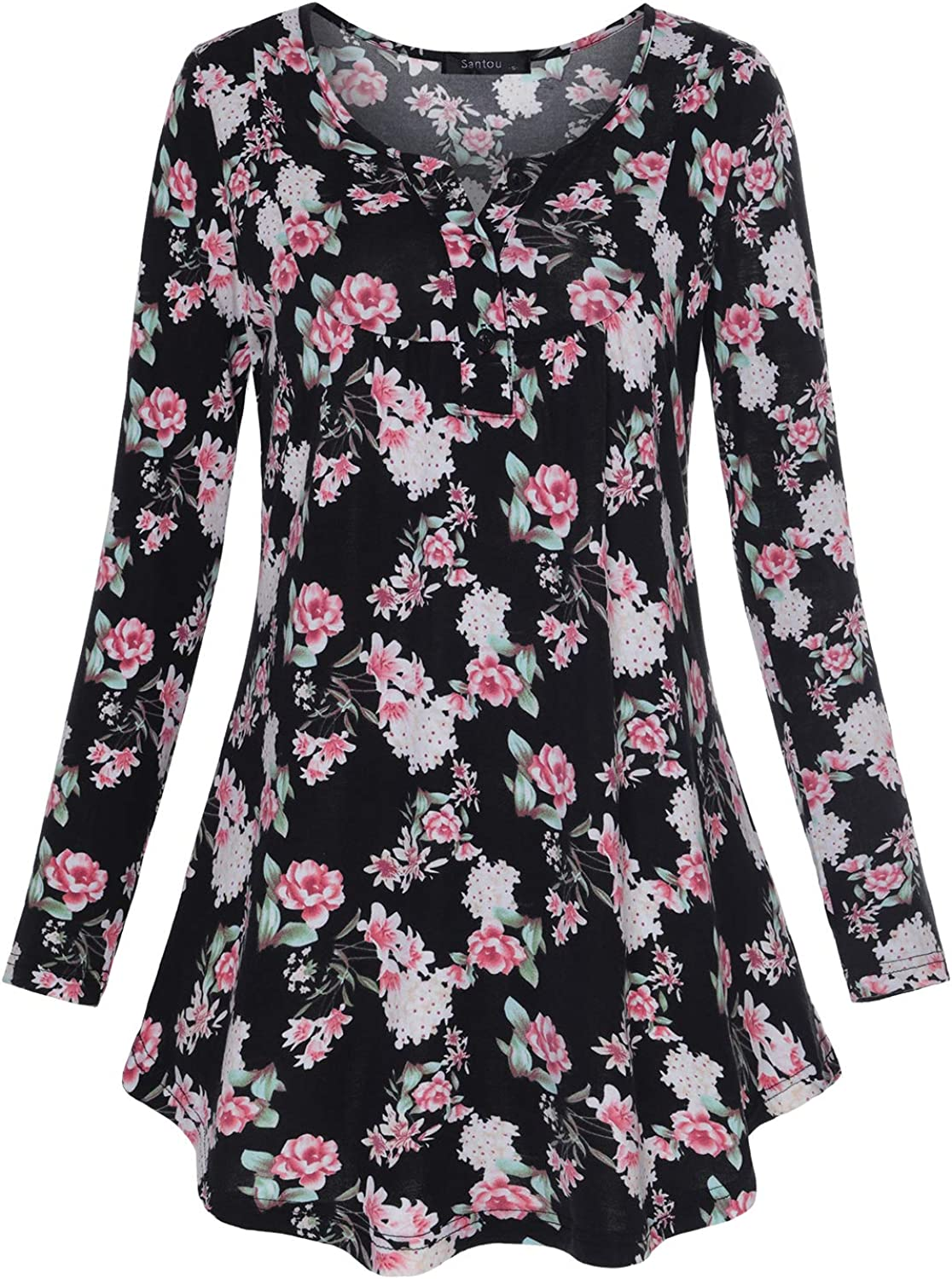 Women's Casual Floral Long Sleeve Henley V Neck Flare Pleated Tunic Blouse Shirt