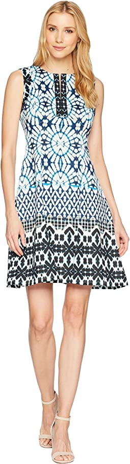 Sundial Ikat Printed Scuba Fit & Flare Dress