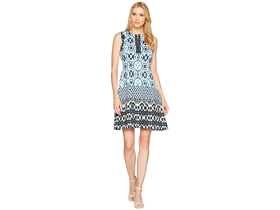Maggy London Sundial Ikat Printed Scuba Fit Flare Dress (Soft White/Navy) Women