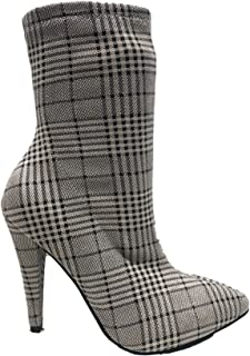 Anne Michelle Magnolia-07xm Pointed Toe Ankle High Stiletto Heel Stretchy Boots Plaid Gray