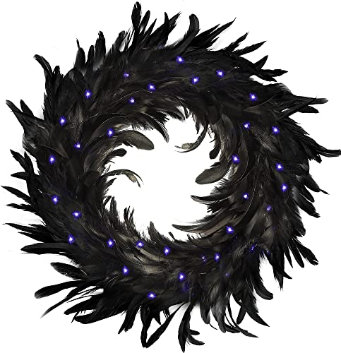 """2021 yosager Halloween Wreath, Pre-Lit Black new arrival Natural Feather Wreath, 14"""" Lighted Wreath with 40 LED Purple 2021 Lights, for Front Door Wall Holiday Horror Theme Spooky Scene Party Halloween Decorations online sale"""