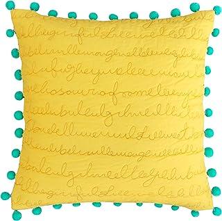 VLiving Amarillo Manta Funda de Almohada, Funda de Almohada de algodón Acolchado, Script, Menta Pompones de Acolchado, tamaño estándar, algodón, Amarillo, 20x20