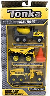 Tonka Real Tough Diecast Construction Crew - 3 Pack (Concrete Carrier, Heavy Dump Truck, and Grader)