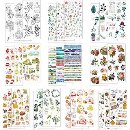 LAITER 30 Pcs Feuilles Autocollant Bullet Journal Sticker en Motif de Plante Animal Fleur pour Scrapbooking Agenda Gommettes Adésive Décorative pour Album Photo Scrapbook Accessoire DIY Enfant Adulte