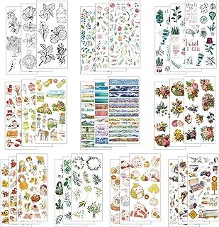 LAITER 30 Pcs Feuilles Autocollant Bullet Journal Sticker en Motif de Plante Animal Fleur pour Scrapbooking Agenda Gommett...