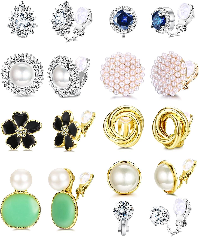 YADOCA 9 Pairs Clip Earrings Sets for Women Fashion Rose Flower Cubic Zirconia CZ Faux Pearl Twist Knot Clip Earrings Hypoallergenic Non Pierced Clip On Earrings Jewelry