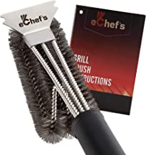 eChef's Stainless Steel Grill Brush and Scraper Made of Heavy Duty 304 Quality Stainless Steel Including The Bristles - BBQ Accessory Cleaning Brush for Weber Gas/Charcoal Grilling Grates