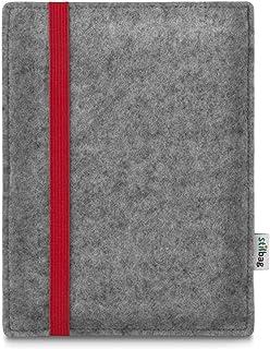 stilbag e Reader Tasche Leon für Amazon Kindle Oasis (9. Generation) | Wollfilz hellgrau   Gummiband rot | Schutzhülle Made in Germany