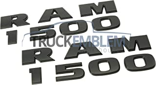 2 NEW MATTE BLACK RAM 1500 EMBLEMS NAMEPLATES BADGES 2013-2016