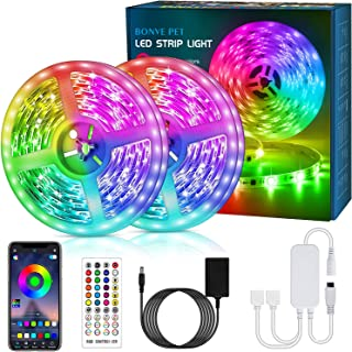 LED Strip Lights 65.6ft, 5050 RGB LED Light Strips with 40 Keys Remote and APP Control, Music Sync, Color Changing Lights ...