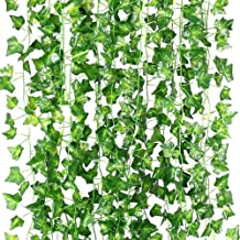 Artificial Ivy Garland, TERSELY 12 Strands (79 Feet) Artificial Ivy Garland Foliage Green Leaves Fake Hanging Vine Plant f...