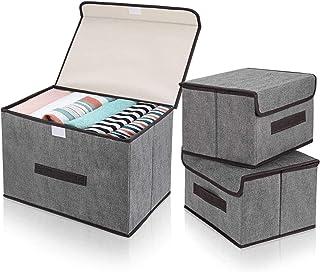 DIMJ Lot de 3 Boites de Rangement Tissu Pliables avec Couvercles, Caisse Rangement de Vetement avec poignées pour Jouets, ...