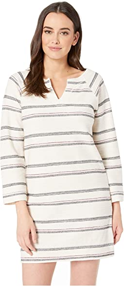 Split-Neck Striped Terry Twill Dress