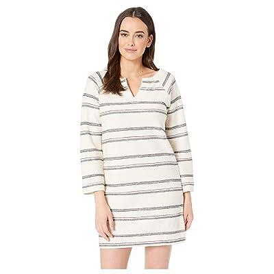 Lilla P Split-Neck Striped Terry Twill Dress (Ivory Stripe) Women