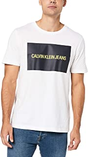 CALVIN KLEIN Jeans Men's Institutional Box Logo T-Shirt, Bright White/Night Sky