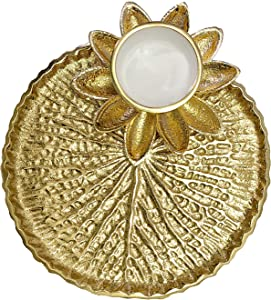 Craftsman Pooja Golden Metal Designer Thali Inbuilt Flower Lotus Petals Diya Dia Traditional Indian Hindu Temple Rituals Mandir Diwali Pujan Deepawali Home Decor Platter Gifts Items