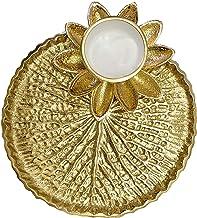 Craftsman Pooja Golden Metal Designer Thali Inbuilt Flower Lotus Petals Diya Dia Traditional Indian Hindu Temple Rituals M...
