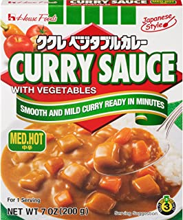House Foods Curry Sauce with Vegetables, Medium Hot, 7 Ounce Boxes (Pack of 10)