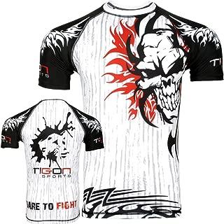 Tigon Sports MMA Rash Guard Compression Base Layer Short Sleeve Mens White