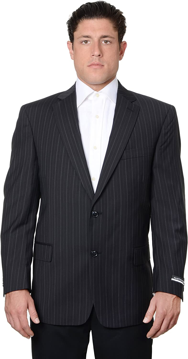 Austin Reed Mens Pure Wool Striped Suit Separate Coat Extra Long, Black