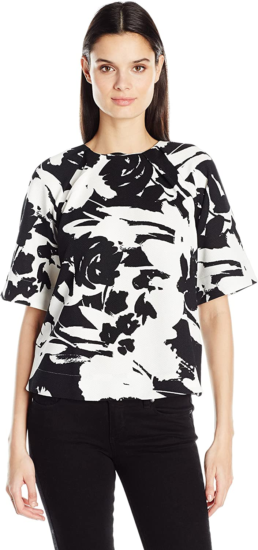 Joan Vass Womens Printed Stretch Pique Top TShirt